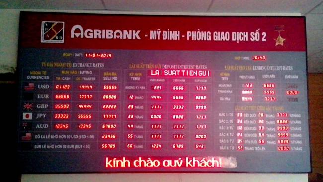Tỷ giá ngân hàng nông nghiệp